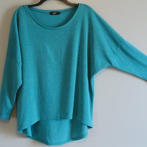 UGET Teal Turquoise 3/4 Sleeve Over-Sized Top